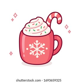 Cute cartoon hot chocolate or coffee in red cup with snowflake ornament. Warm seasonal drink doodle with candy cane, whipped cream and sprinkles. Christmas greeting card illustration.