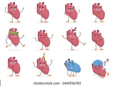 Cute cartoon human heart internal organ emotions and poses set illustration.