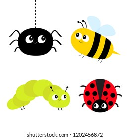Cute cartoon insect set. Ladybug lady bird, honeybee bee, caterpillar, spider. Dash line. White background Isolated. Flat design.