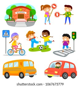 Cute cartoon kids and objects related to road traffic safety