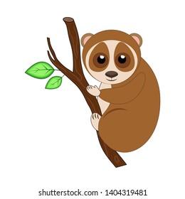 Cute cartoon lemur loris. Exotic animal.