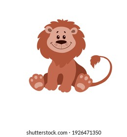 Cute cartoon lion. Cartoon animals illustration. Hand drawn children's illustration, perfect for kids clothing, fashion print design and greeting cards