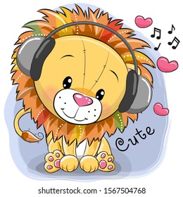Cute cartoon Lion with headphones and hearts on a blue background
