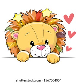 Cute Cartoon Lion with hearts on a white background