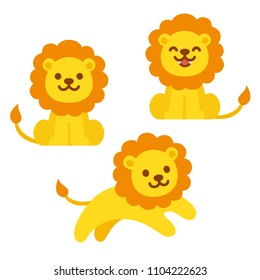 Cute cartoon lion illustration set. Sitting, roaring and jumping. Funny clip art illustration for kids.