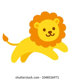 Cute cartoon lion jumping, funny illustration for kids.