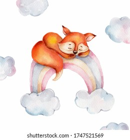 Cute cartoon little fox on the rainbow and clouds; watercolor hand draw illustration; can be used for baby shower or kid poster; with white isolated background