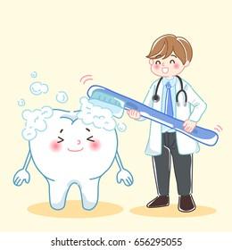 cute cartoon man dentist teach tooth how to brush