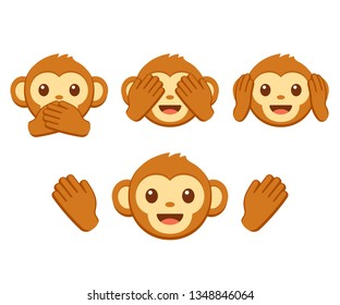Cute cartoon monkey face emoji icon set. Three wise monkeys with hands covering eyes, ears and mouth: See no evil, hear no evil, speak no evil.