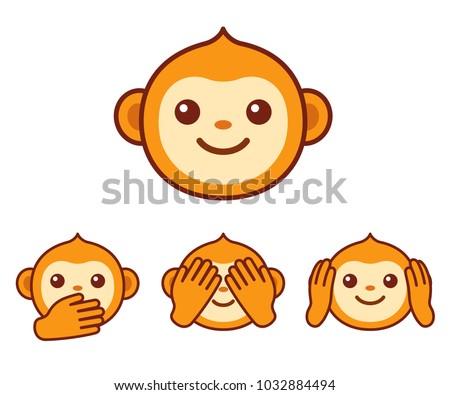 Cute Cartoon Monkey Face Icon Three Stockillustration 40 Awesome Monkey Covering Eyes Emoji Pillow