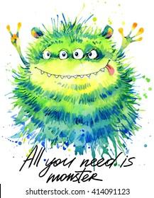Cute Cartoon monster watercolor illustration.