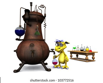 A cute cartoon monster wearing glasses working in his chemistry lab. White background.