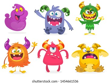 Cute cartoon Monsters. Set of cartoon monsters: ghost, goblin, bigfoot yeti, troll and alien and gremlin. Halloween characters