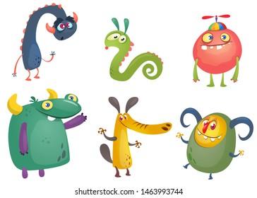 Cute cartoon Monsters. Set of cartoon monsters. Halloween design