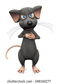 A cute cartoon mouse looking very angry, ready to fight. White background.