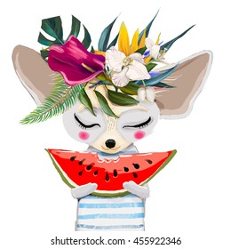 cute cartoon mouse with water mellon