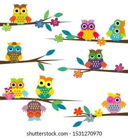 Cute cartoon owls on tree branch
