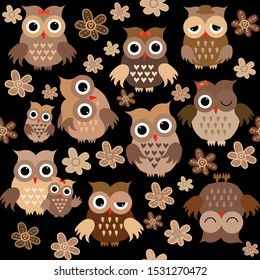 Cute cartoon owls seamless background