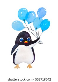 Cute cartoon penguin with blue balloon isolated on white, in watercolor.