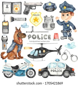 Cute cartoon Police helicopter, car, motorcycle, police officer and police equipment. Watercolor hand painted clipart