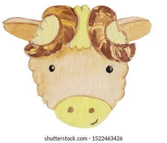 Cute cartoon portrait of a ram on a white background. watercolor illustration for prints, posters, design and magazine