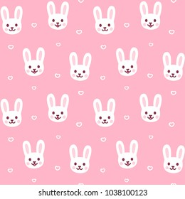 44170f9b99e Cute cartoon rabbit pattern. Easter bunny face repeating texture on pink  background.