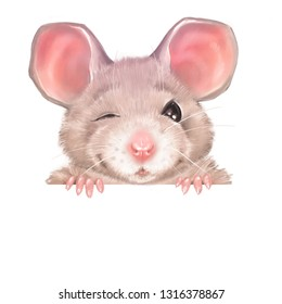 Cute cartoon rat winks. Isolated on white background