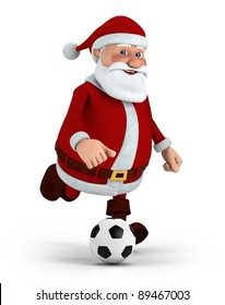 cute cartoon santa claus playing soccer - high quality 3d illustration