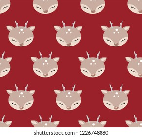 Cute cartoon seamless pattern with deer. .