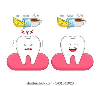 Cute cartoon sensitive tooth and healthy tooth character. Ice, Sour lemon and hot drinks. Dental care concept.  Illustration on white background.