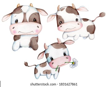 Cute cartoon set of baby cow, bulls, symbol of new year 2021. Watercolor hand drawn illustration, isolated.