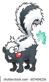 A cute cartoon skunk making a smell