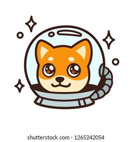 Cute cartoon space dog character drawing. Kawaii anime style Shiba Inu puppy in astronaut helmet, isolated illustration.