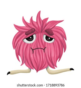 cute cartoon style hairy furry red monster with long legs with black nails with a sad face isolated on a white background, plants, for prints, postcards decoration, decor, design, fabric, textiles