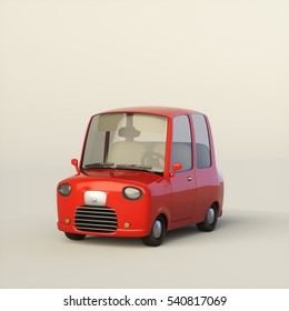Cute cartoon stylized car in a red color isolated on a light background. 3d rendering illustration