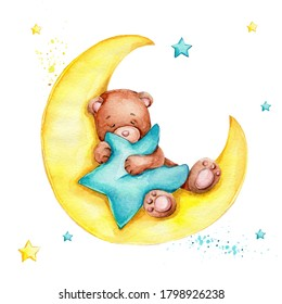 Cute cartoon teddy bear sleeping on the moon and blue star; watercolor hand draw illustration; can be used for baby shower; with white isolated background