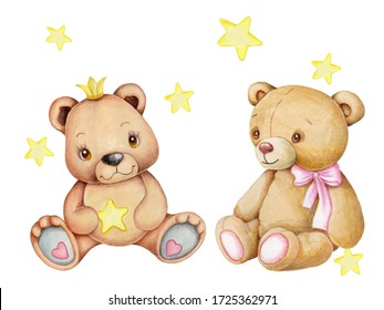 Cute cartoon teddy bear and yellow stars. Watercolor hand drawn illustration. Isolated.