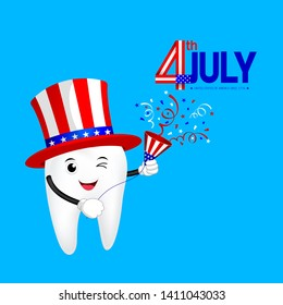 Cute cartoon tooth with American hat and paper shoot. concept for patriotism in America and celebration of independence day. The fourth of July for the United States. illustration on blue background.