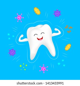 Cute cartoon tooth character flexing arms forming a shield as a protection against viruses and bacteria. Dental care concept. Illustration isolated on blue background.