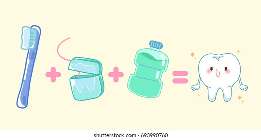 cute cartoon tooth with health concept on blue background