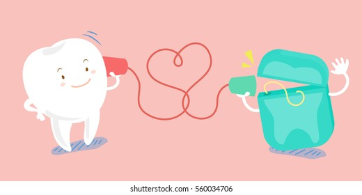 cute cartoon tooth use can phone and speaking happily