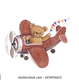 Cute cartoon toy animal teddy bear flying in plane. Watercolor illustration for kids. Isolated, hand painted.