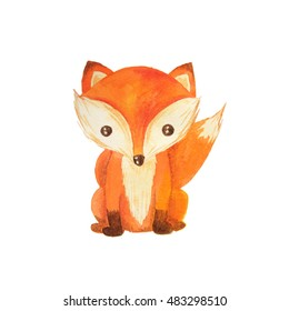 Cute cartoon watercolor forest animal. Hand painted lovely baby fox illustration perfect for print and card making. Woodland wild orange fox