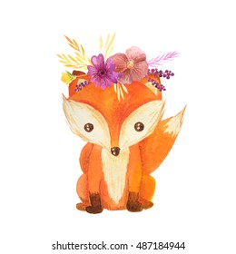 Cute cartoon watercolor forest animal. Hand painted lovely baby fox with floral wreath perfect for print and card making. Woodland wild orange fox