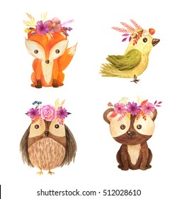 Cute cartoon watercolor forest animals set. Hand painted lovely baby bear, fox, owl and little bird with floral wreaths. illustration perfect for print and card making. Woodland wild brown bear