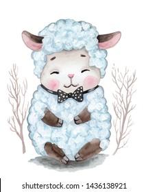 Cute cartoon watercolor hand drawn little sheep, lamb.