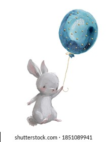 cute cartoon watercolor hare fly with balloon