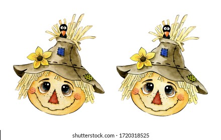 Cute cartoon watercolor scarecrow face with crow and sunflower on a white background