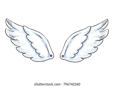 Cute cartoon wings. Illustration with white angel or bird wing icon isolated
