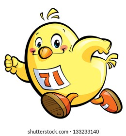 Cute cartoon yellow chicken running fast